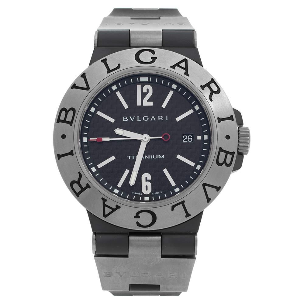 Bvlgari Black Carbon Fiber Titanium Rubber Diagono TI 44 TA Men's Wristwatch 44 mm