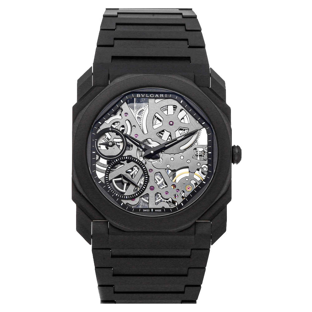 Bvlgari Gray Ceramic Octo Finissimo 103126 Men's Wristwatch 40 MM