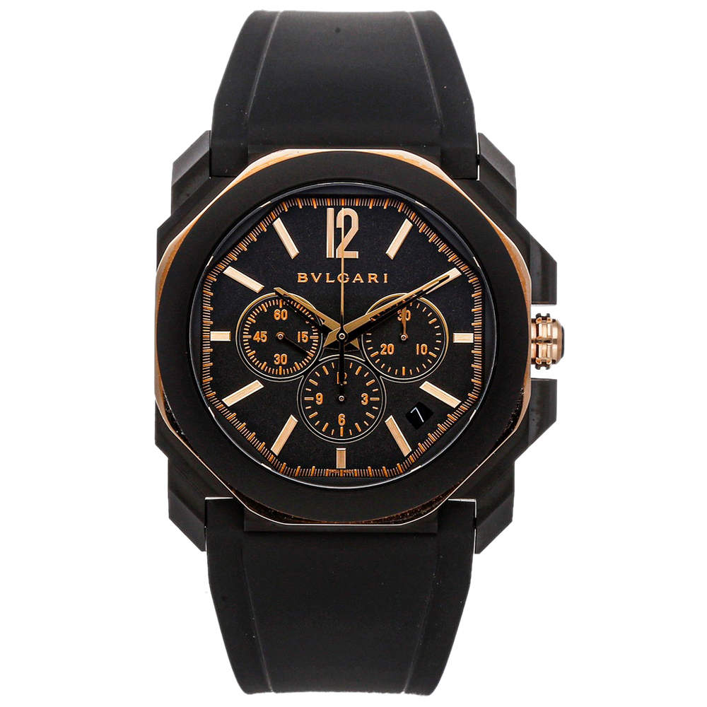 Bvlgari Black 18k Rose Gold And Coated Stainless Steel Octo L'Originale Chronograph 103075 Men's Wristwatch 41 MM