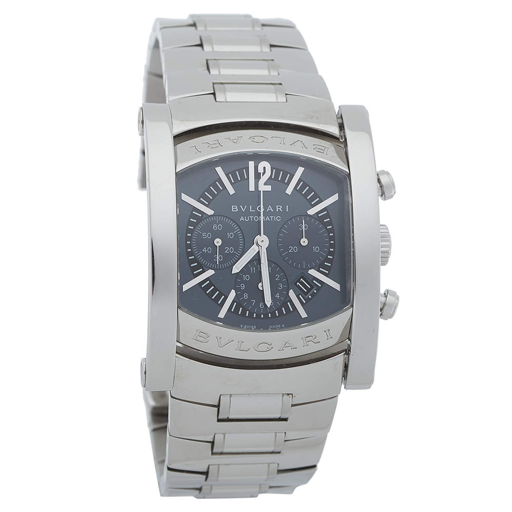 Bvlgari Grey Stainless Steel Assioma Chronograph Automatic AA44SCH Men's Wristwatch 44 MM