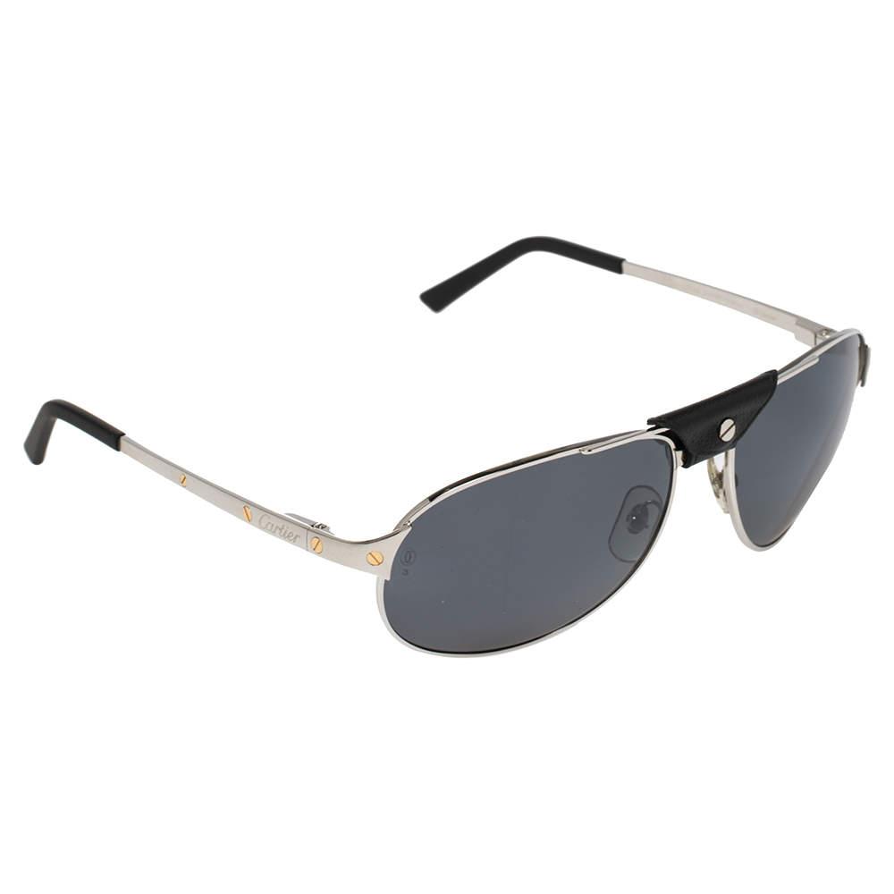 Cartier Brushed Ruthenium Tone/ Grey Santos de Cartier Aviator Sunglasses