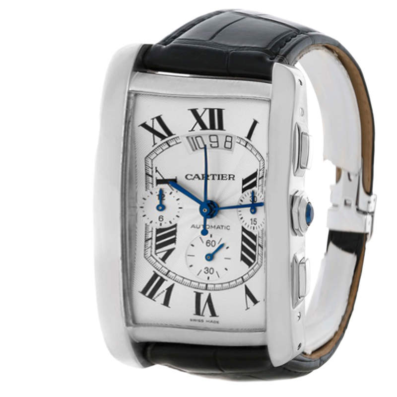 Cartier Silver Guilloche 18K White Gold Tank Americaine XL Men's Wristwatch 31MM