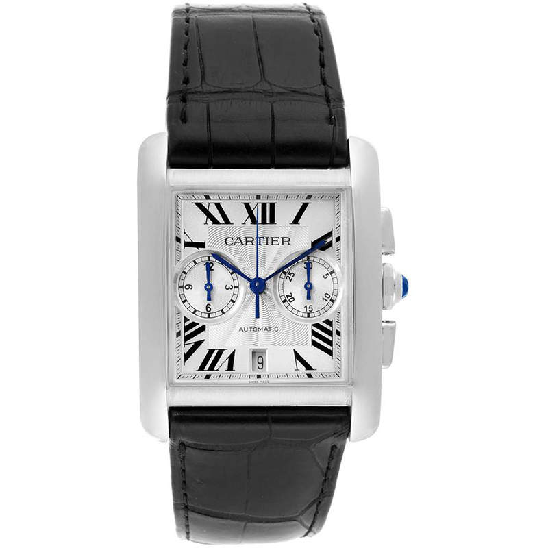 Cartier Silver Stainless Steel Tank MC Chronograph W5330007 Men's Wristwatch 34.3MM