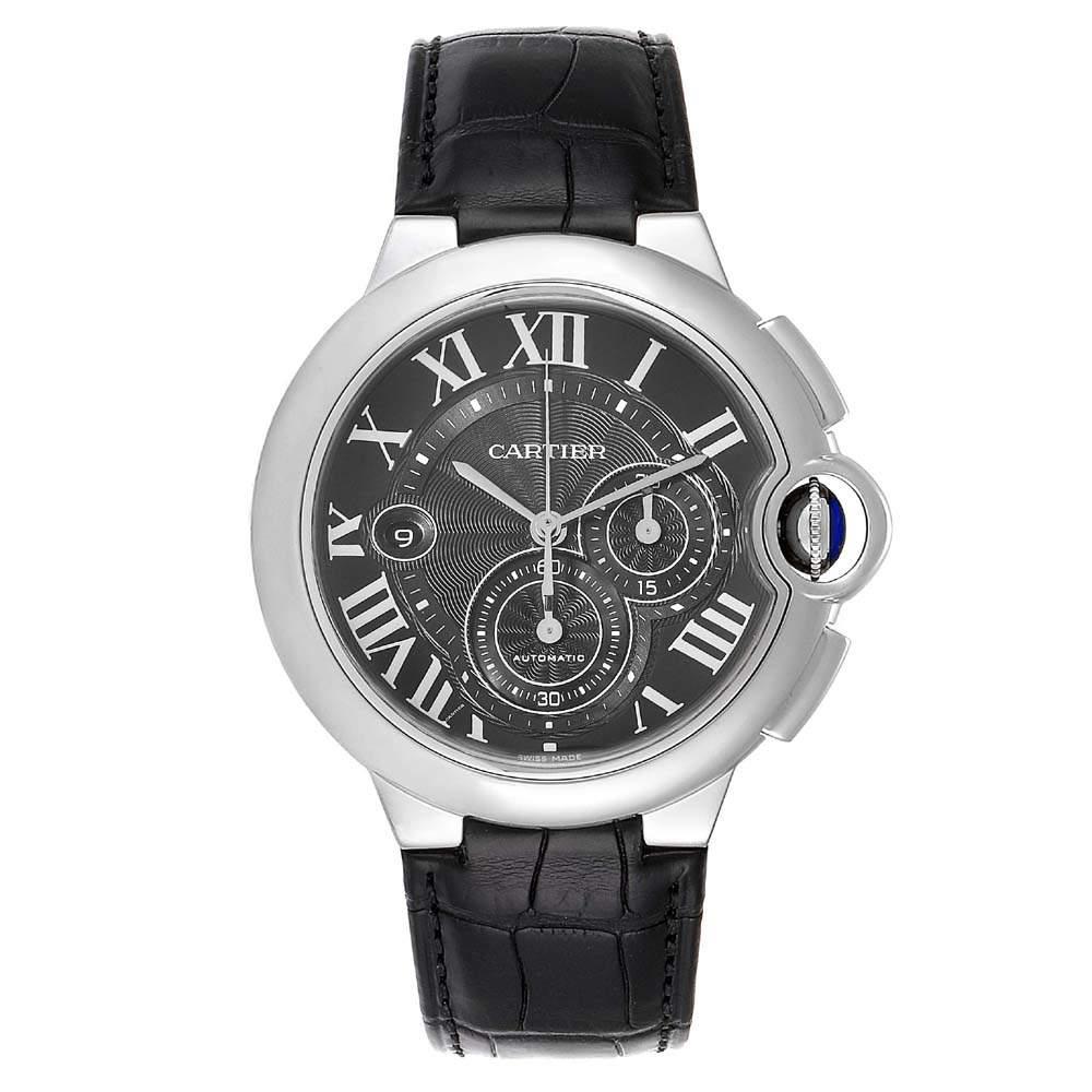 Cartier Black Stainless Steel Ballon Bleu Chronograph W6920052 Men's Wristwatch 47 MM