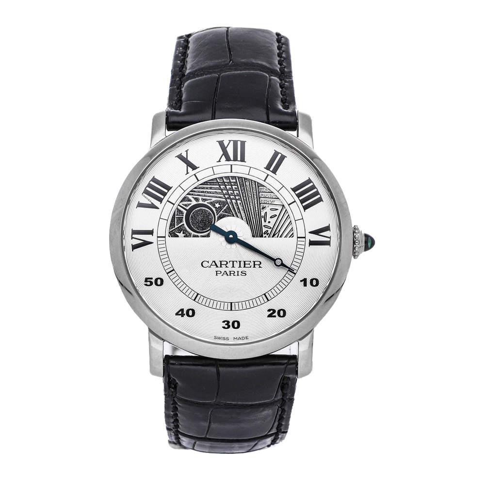 Cartier Silver 18K White Gold Rotonde Day/Night W1550151 Men's Wristwatch 42 MM