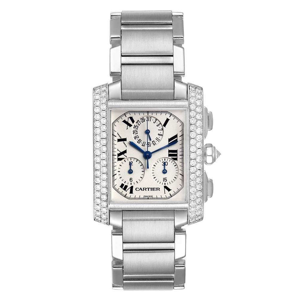 Cartier White Diamonds 18K White Gold Tank Francaise Chrongraph 2367 Men's Wristwatch 36 x 28 MM