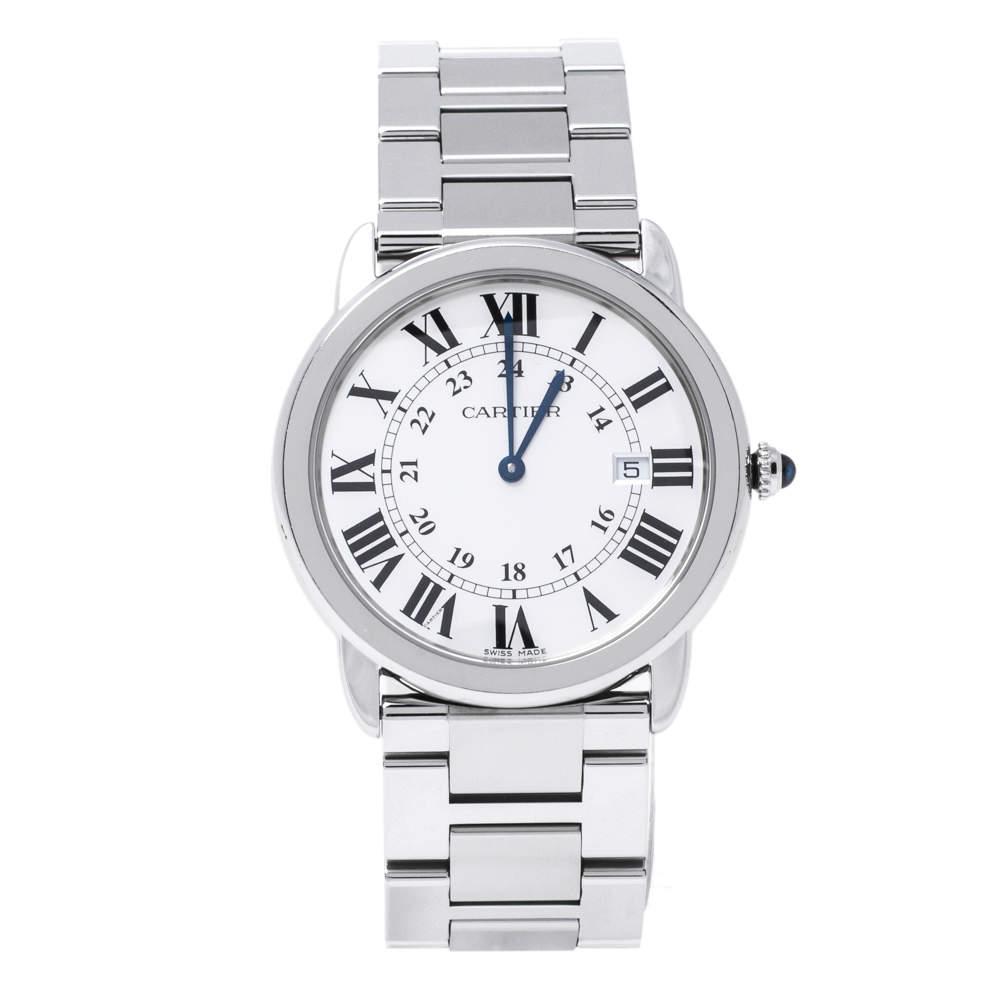 Cartier Silver Stainless Steel Ronde Solo 3603 Men's Wristwatch 36 mm