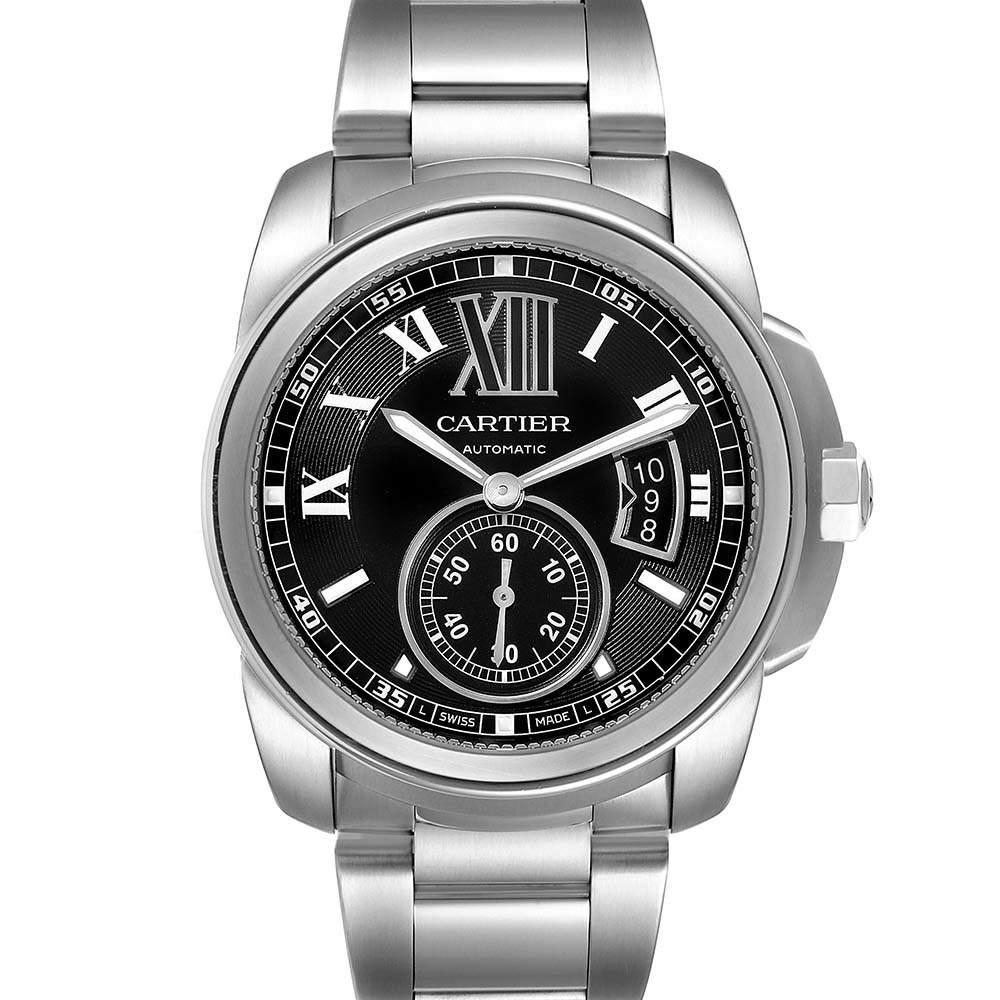 Cartier Black Stainless Steel Calibre de Cartier W7100016 Automatic Men's Wristwatch 42 MM