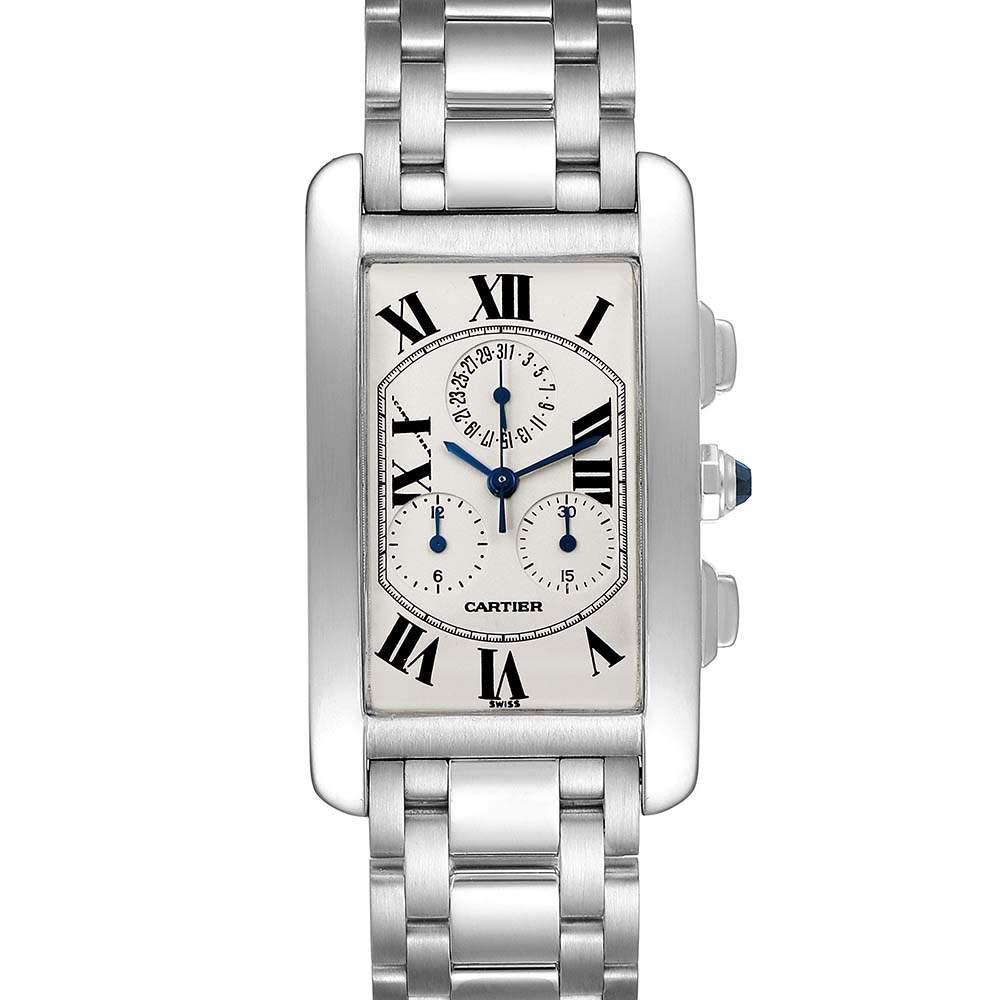 Cartier Silver 18K White Gold Tank Americaine Chronograph W26033L1 Men's Wristwatch 27 MM