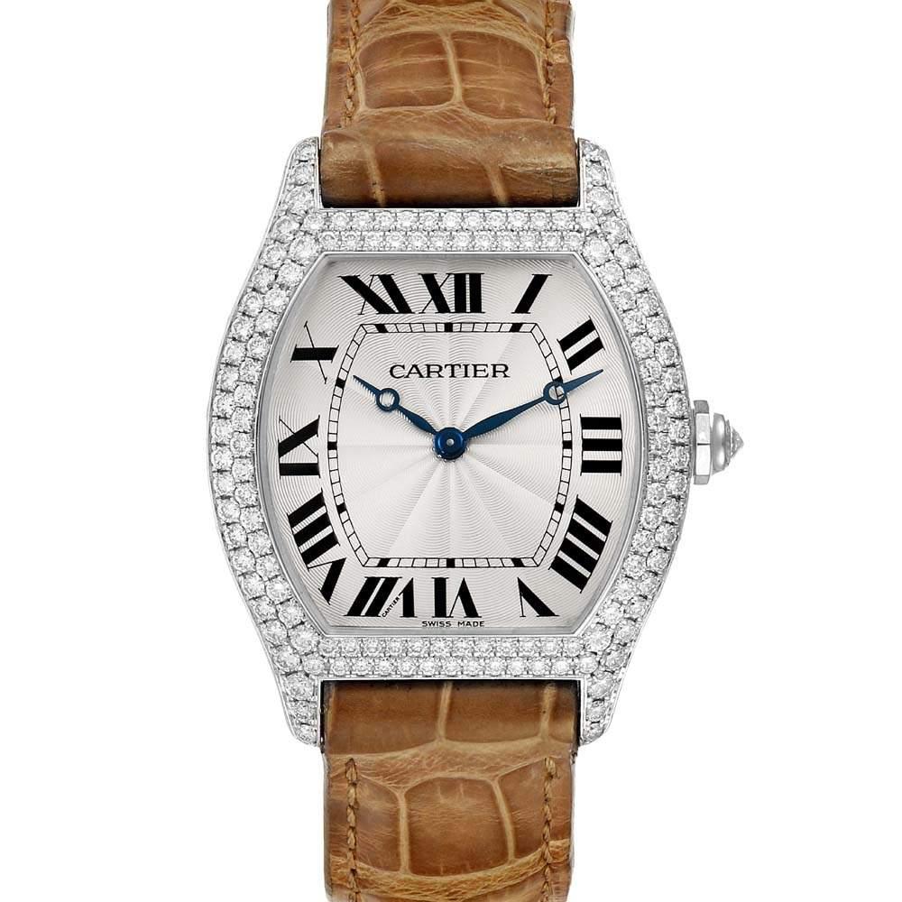 Cartier Silver Diamonds 18K White Gold Tortue WA504351 Men's Wristwatch 33 x 34 MM