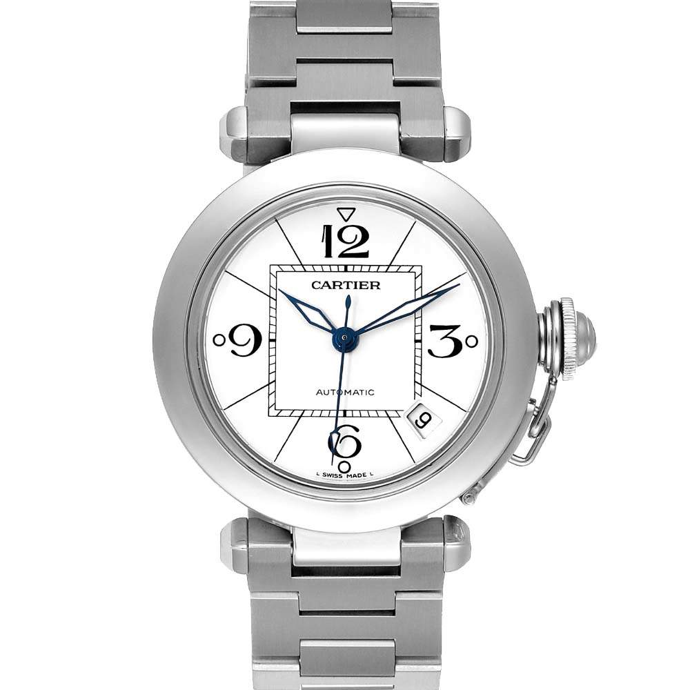 Cartier White Stainless Steel Pasha C Automatic W31074M7 Men's Wristwatch 35 MM
