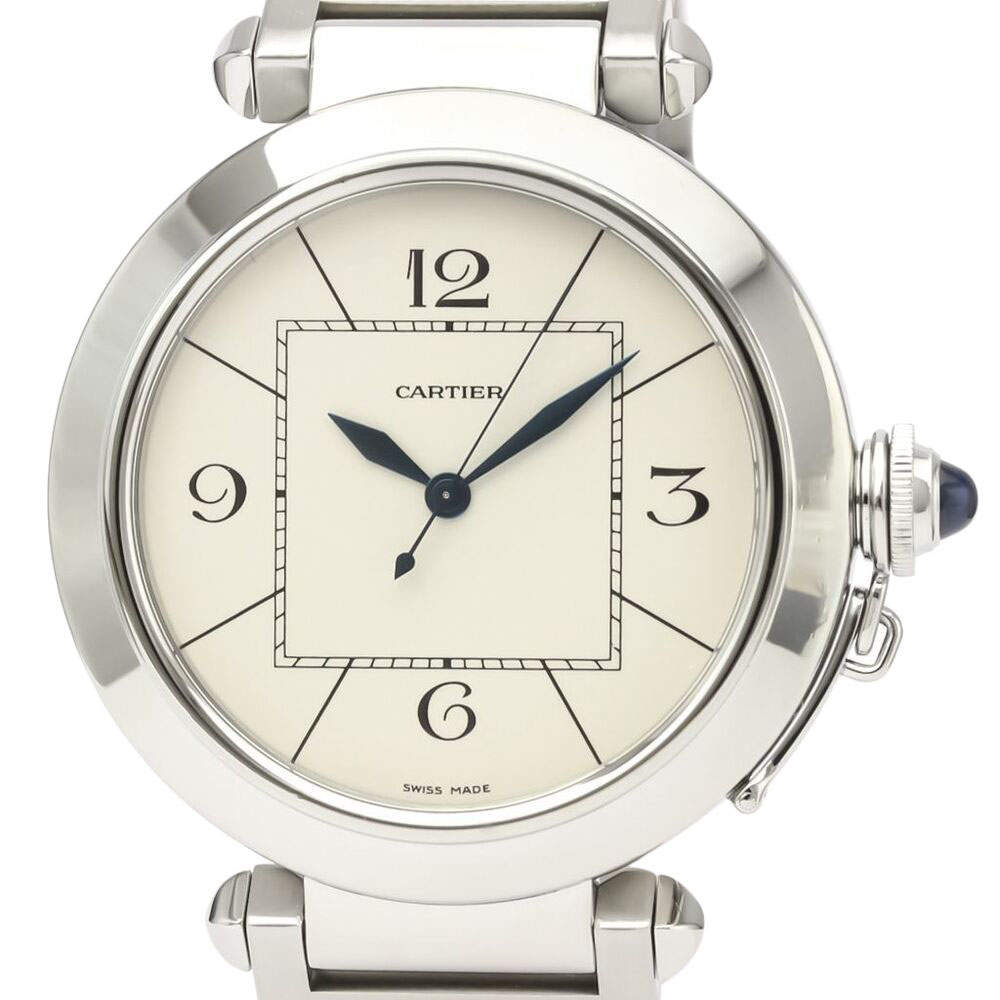 Cartier Silver Stainless Steel Pasha Automatic W31072M7 Men's Wristwatch 42 MM