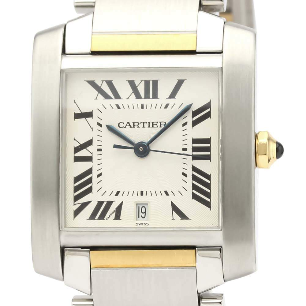 Cartier Silver 18K Yellow Gold And Stainless Steel Tank Francaise W51005Q4 Automatic Men's Wristwatch 28 MM