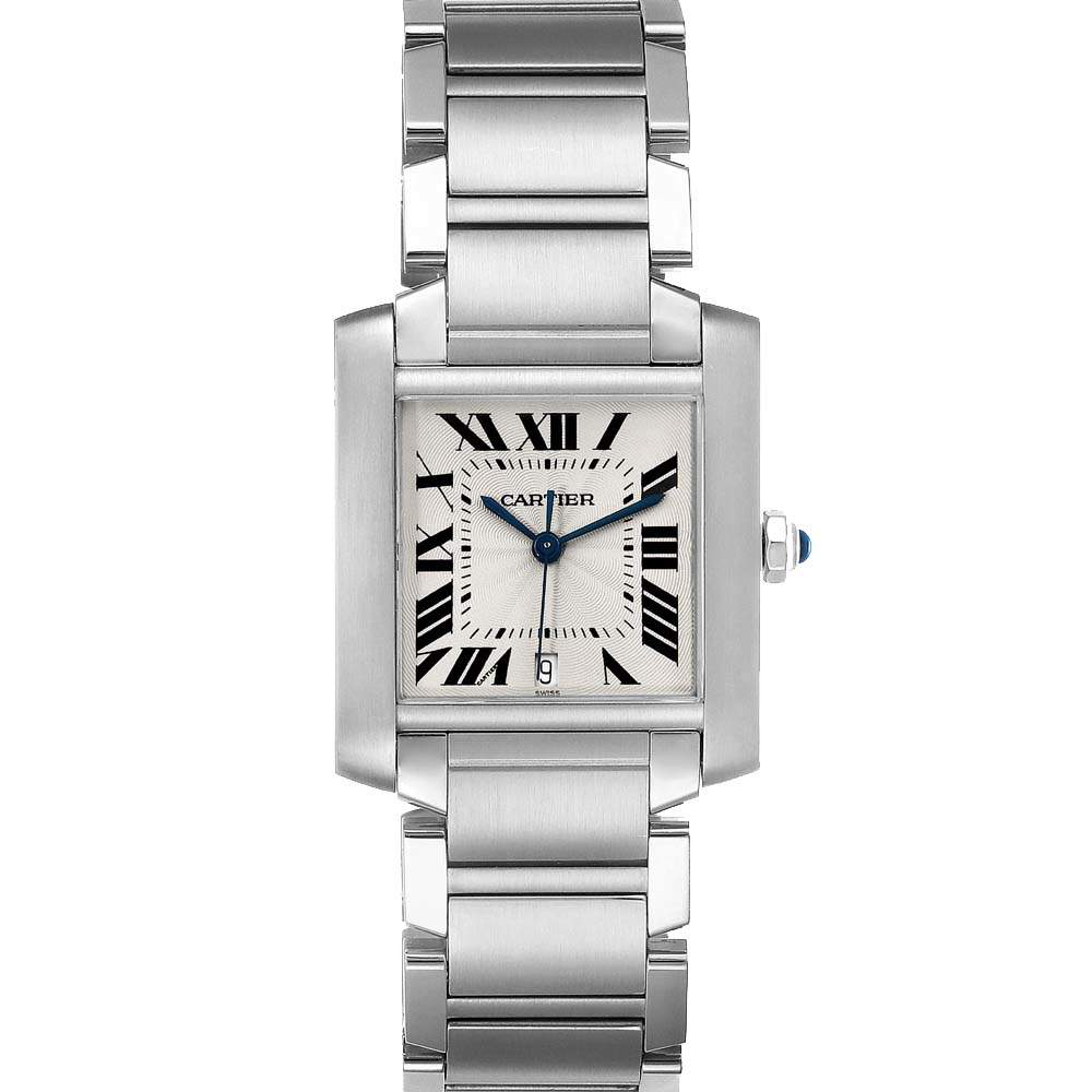 Cartier Silver Stainless Steel Tank Francaise Automatic W51002Q3 Men's Wristwatch 28 x 32 MM