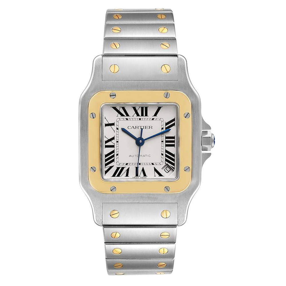 Cartier Silver 18K Yellow Gold And Stainless Steel Santos Galbee XL W20099C4 Men's Wristwatch 32 x 45 MM