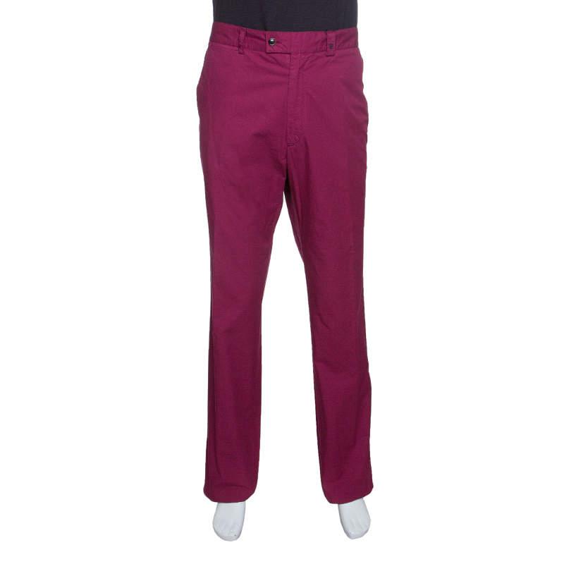 CH Carolina Herrera Purple Cotton Straight Fit Trousers 3XL