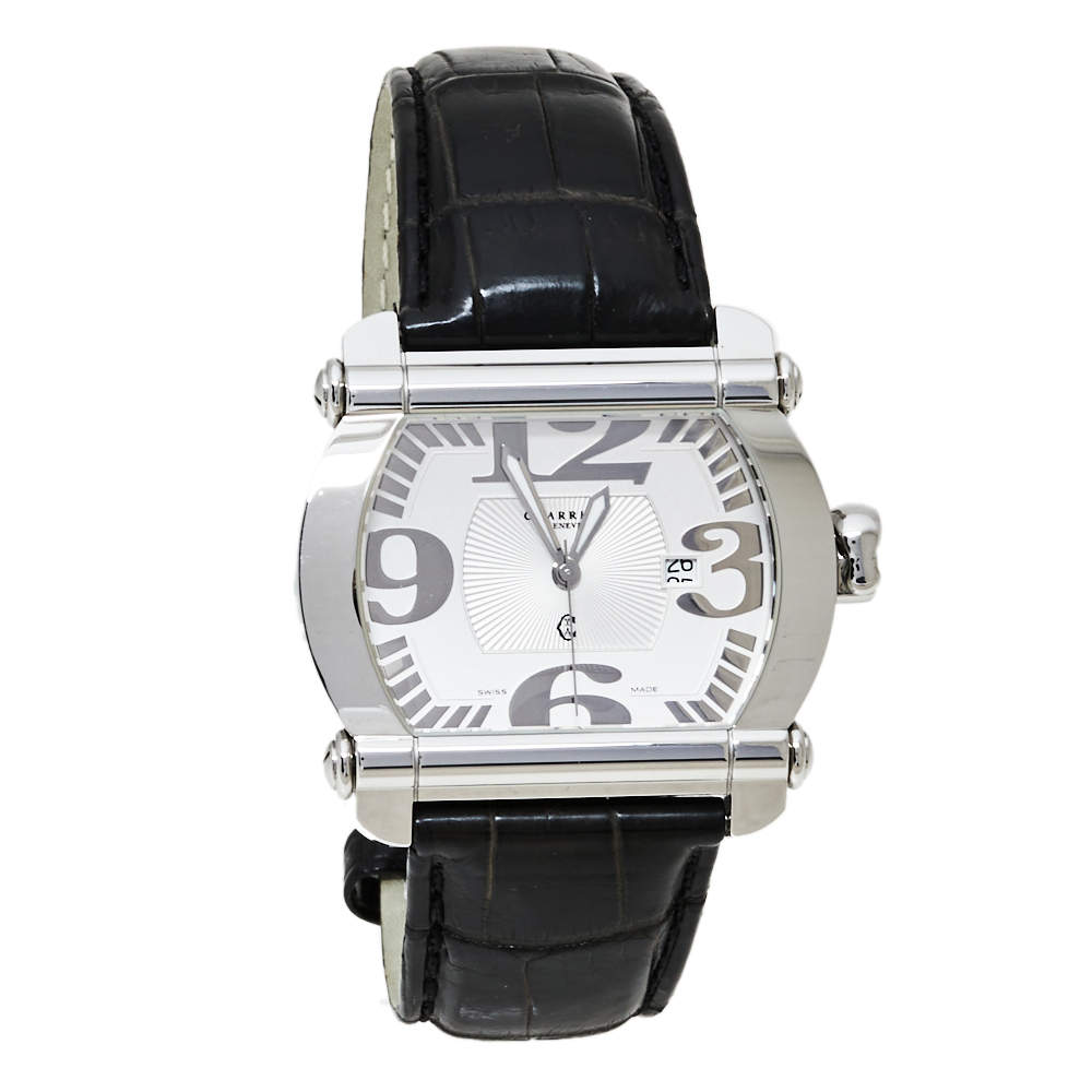 Charriol Silver Stainless Steel & Leather Actor CCHTXL Men's Wristwatch 42 mm