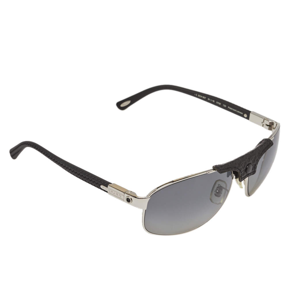 Chopard Black & Silver/Grey SCH907 Polarized Aviator Sunglasses