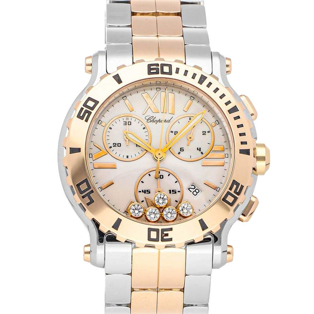 Chopard White Diamonds 18K Rose Gold And Stainless Steel Happy Sport Chronograph 288499-6002 Men's Wristwatch 42 MM