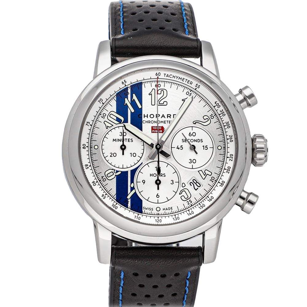 Chopard Silver/Blue Stainless Steel Mille Miglia Classic Chronograph Racing Stripes Limited Edition 168589-3021 Men's Wristwatch 42 MM