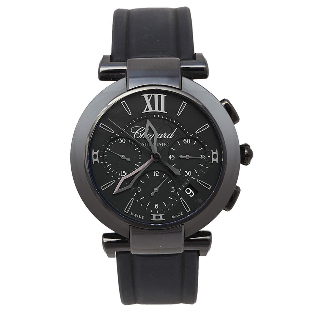 Chopard Black DLC-Coated Steel and Rubber Imperiale 8549 Men's Wristwatch 40mm