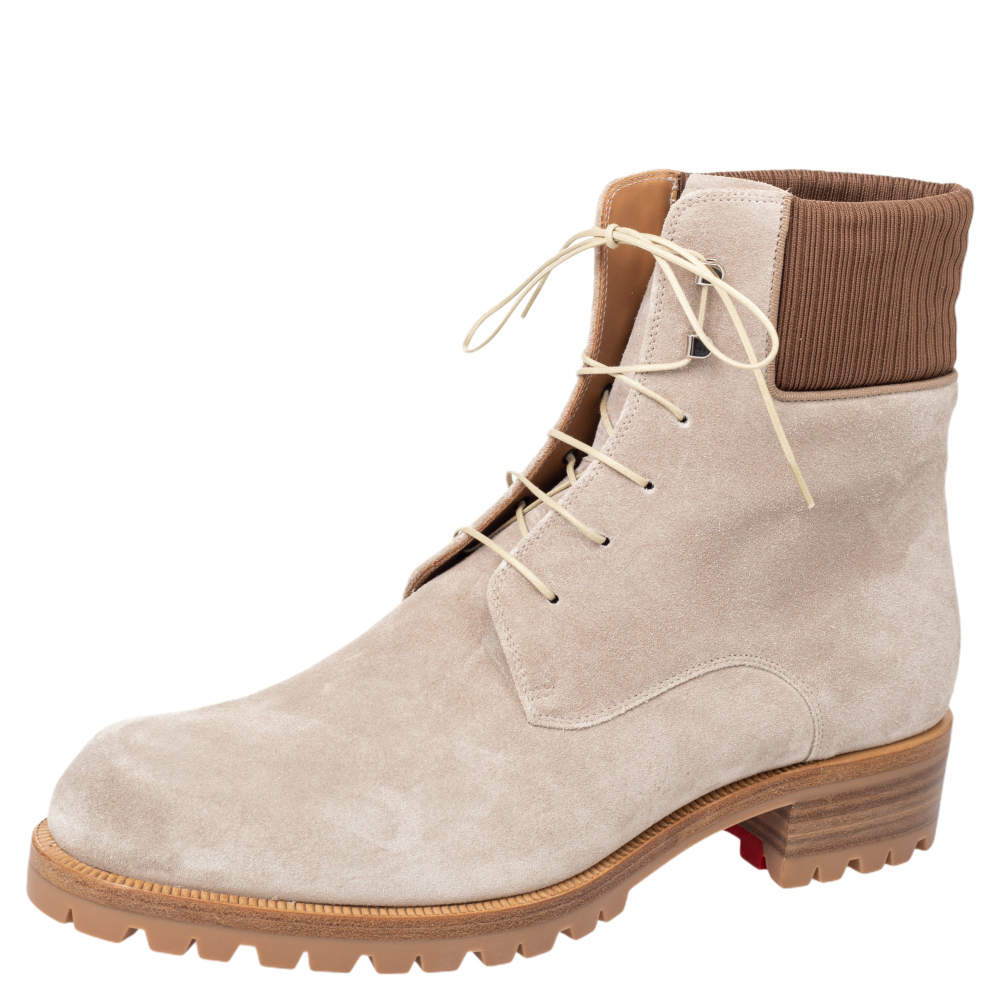 Christian Louboutin Beige Suede Trapman Ankle Boots Size 44