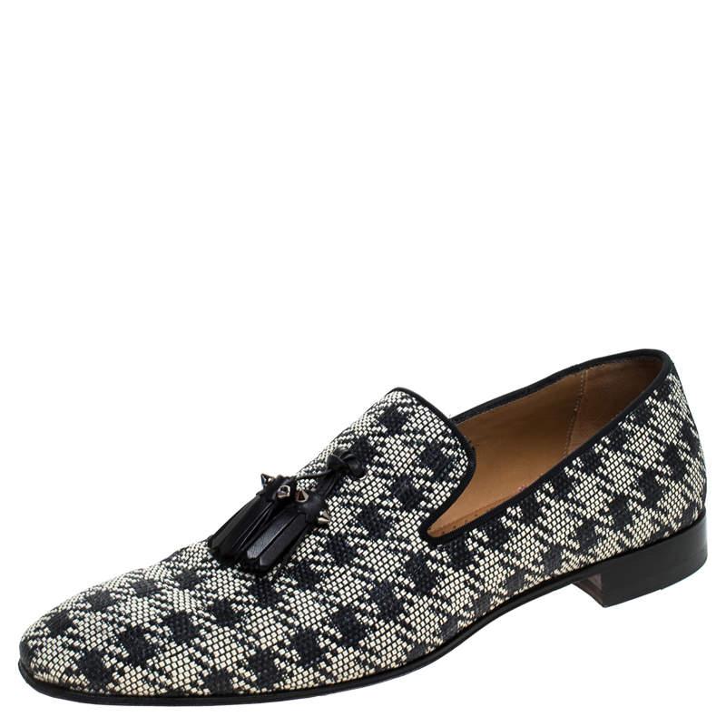 Christian Louboutin Black/White Woven Raffia Dandelion Tassel Slip On Loafers Size 42