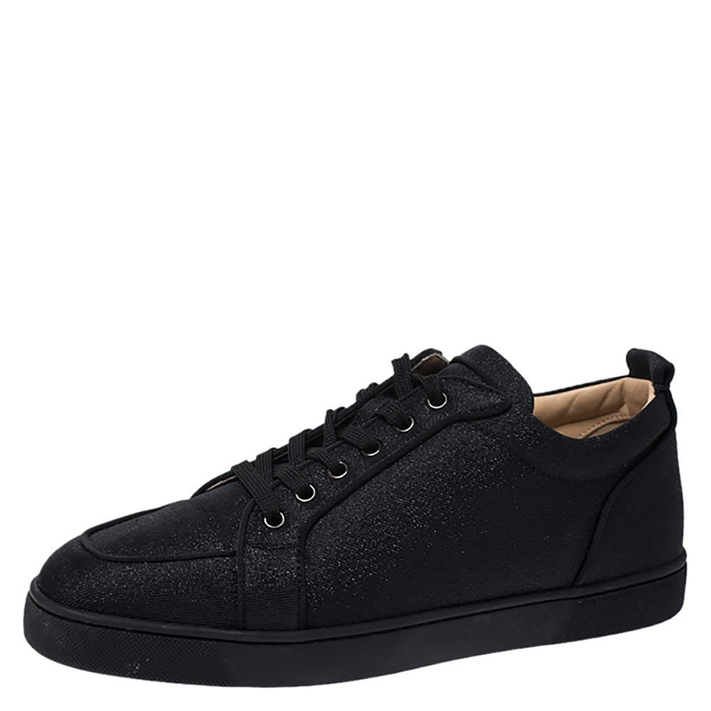 Christian Louboutin Black Glitter Canvas Rantulow Low Top Sneakers Size 42.5