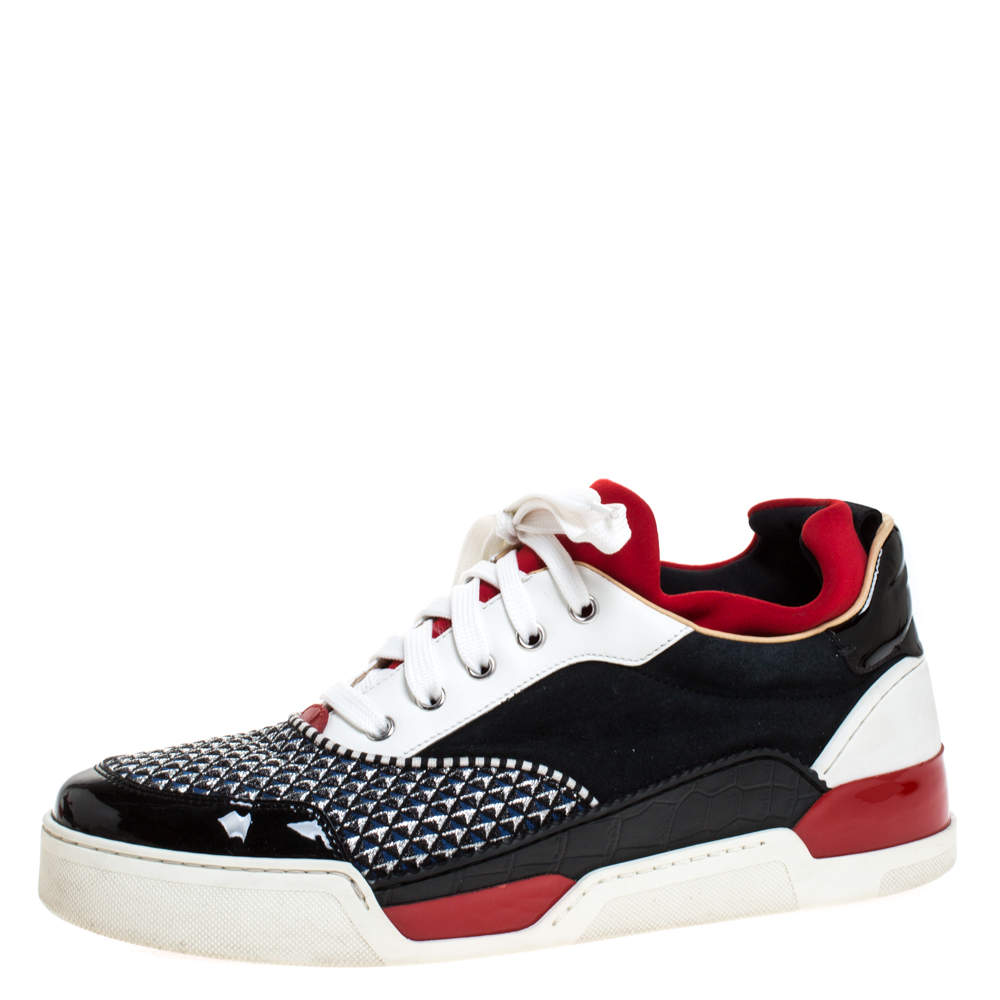 Christian Louboutin Multicolor Leather And Fabric Aurelian Low Top Sneakers Size 42.5