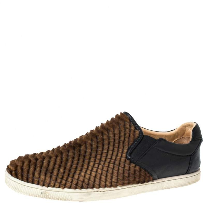 Christian Louboutin Black/Brown Calf Hair And Leather Master Key Slip On Sneakers Size 43