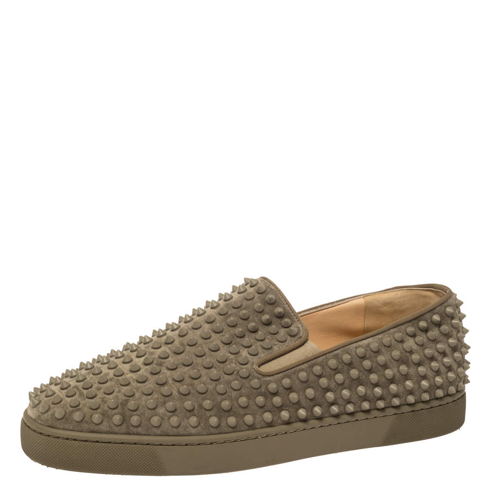 Christian Louboutin Khaki Green Suede Roller Boat Spiked Slip On Sneakers Size 45