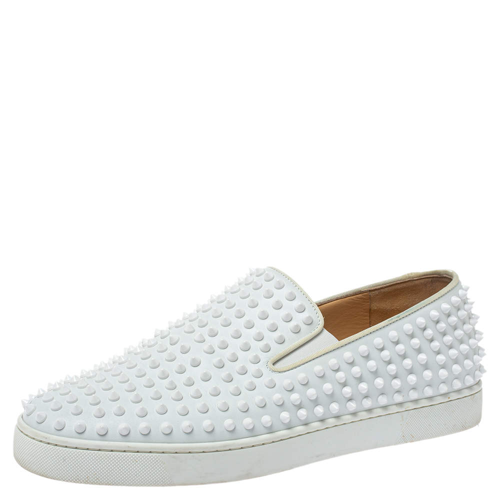 Christian Louboutin White Leather Roller Boat Spiked Slip On Sneakers Size 44.5