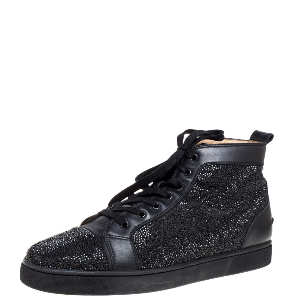 Christian Louboutin Black Leather Louis Strass High Top Sneakers Size 45