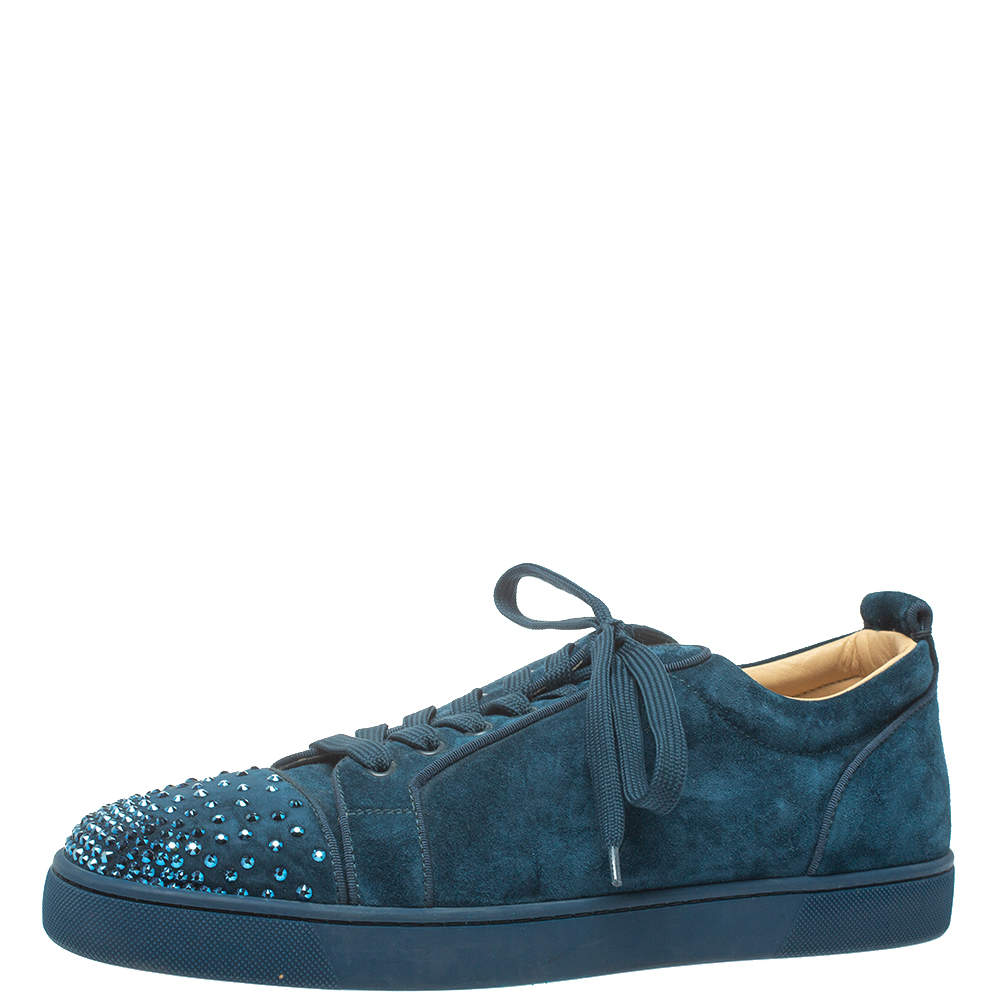 Christian Louboutin Blue Suede Louis Junior Degra Strass Low Top Sneakers Size 45.5