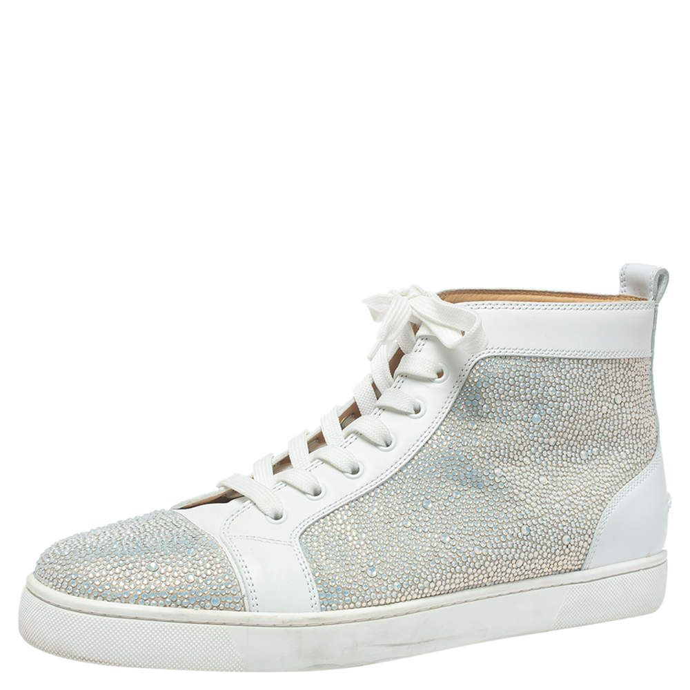 Christian Louboutin White Leather Rantus Crystal Embellished High Top Sneakers Size 45.5