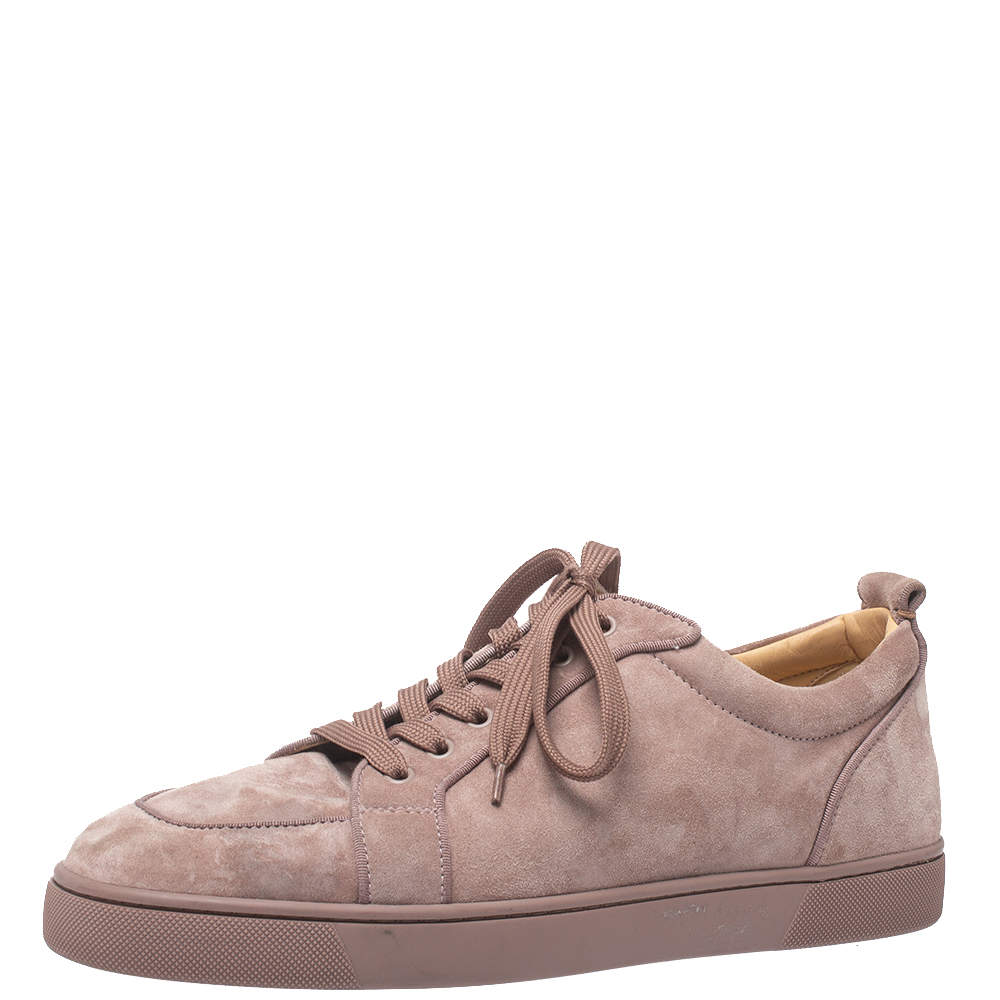 Christian Louboutin Pink Suede Rantulow Low Top Sneakers Size 44.5