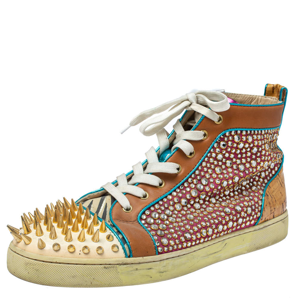 Christian Louboutin Multicolor Leopard Print Calfhair, Leather and Suede Bublle Spike Louis High Top Sneakers Size 45.5