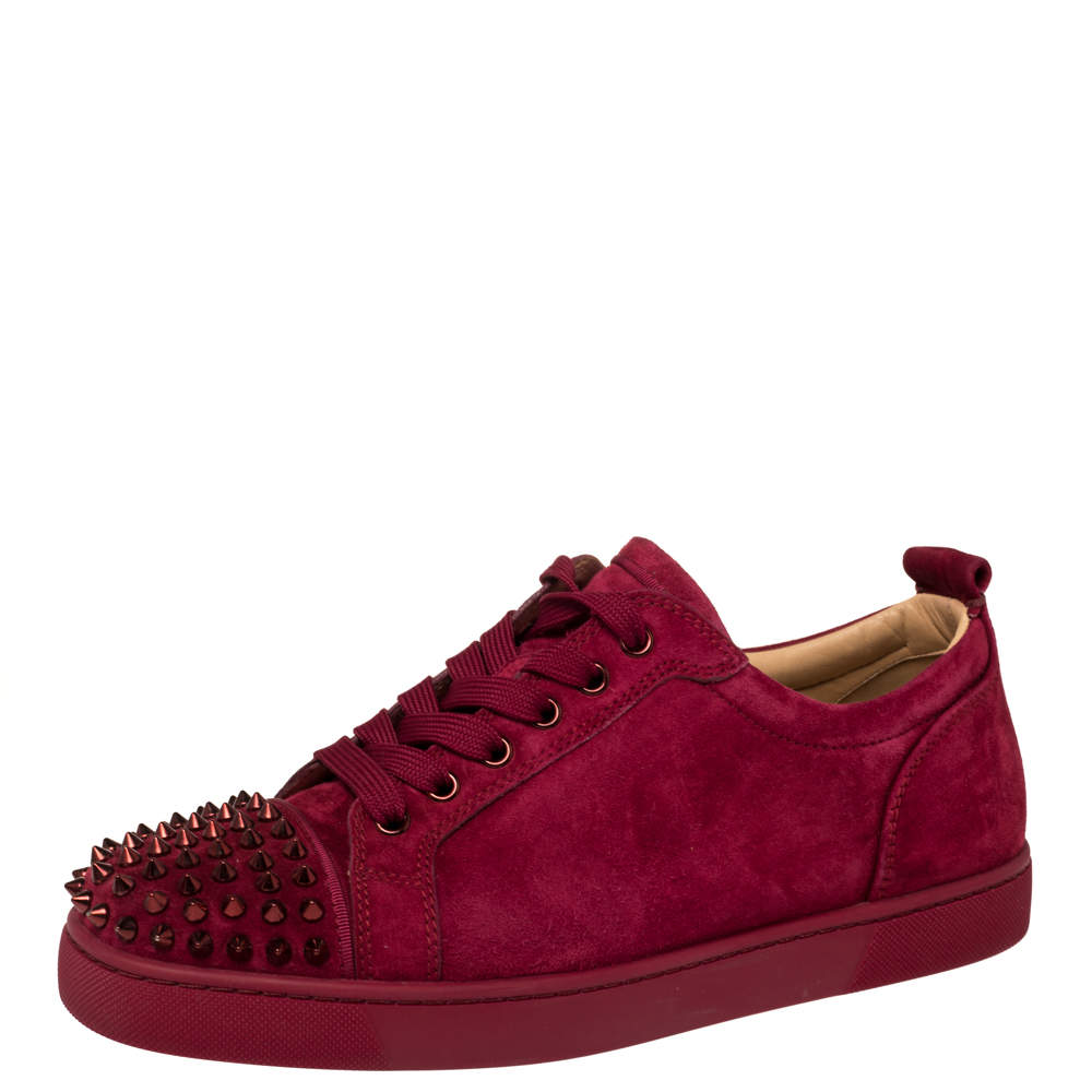 Christian Louboutin Burgundy Suede Louis Spikes Sneakers Size 42