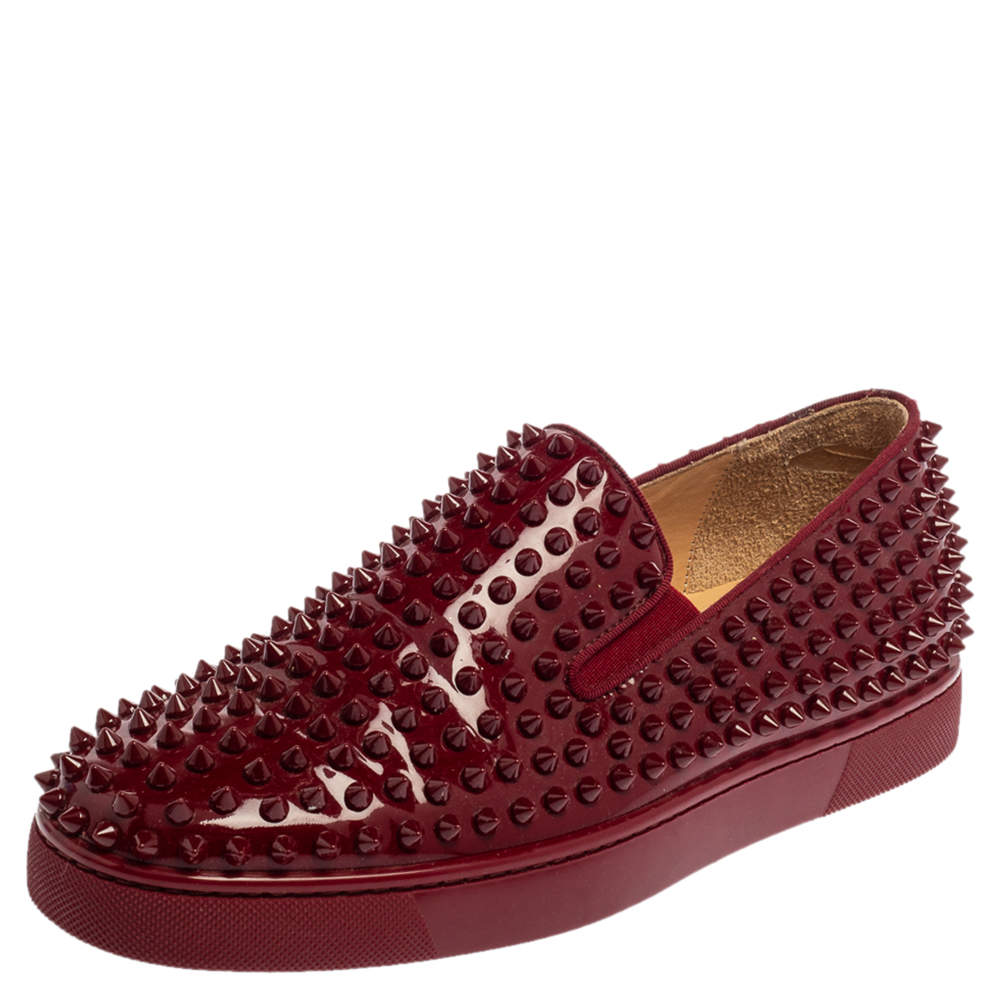 Christian Louboutin Burgundy Patent Leather Roller Boat Spiked Slip On Sneakers Size 40