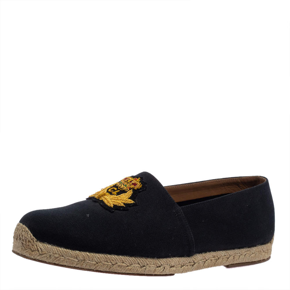 Christian Louboutin Dark Blue Canvas Gala Embroidered Espadrille Slip On Loafers Size 43