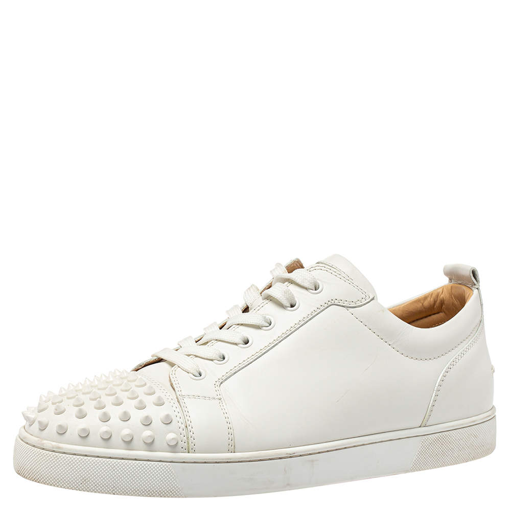 Christian Louboutin White Leather Spikes Sneakers Size 45