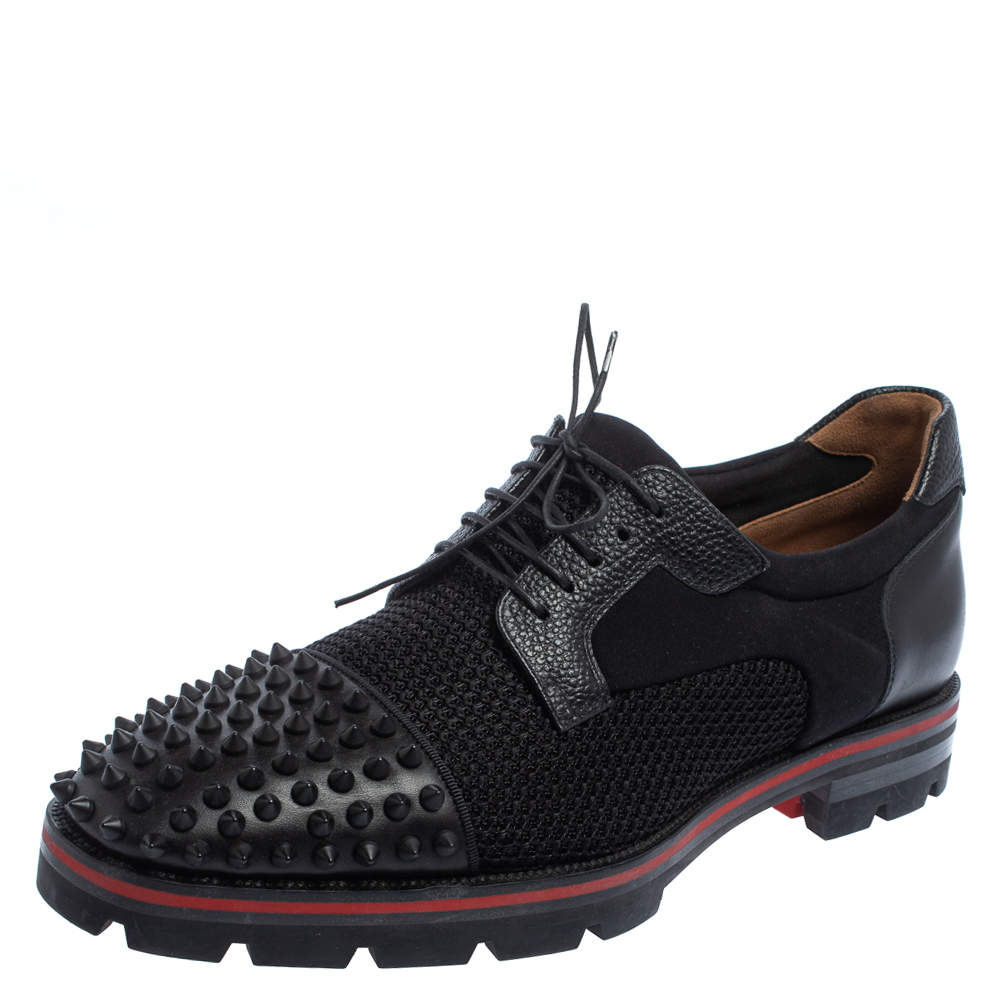 Christian Louboutin Black Fabric And Leather Luis Spikes Cap Toe Derby Size 42