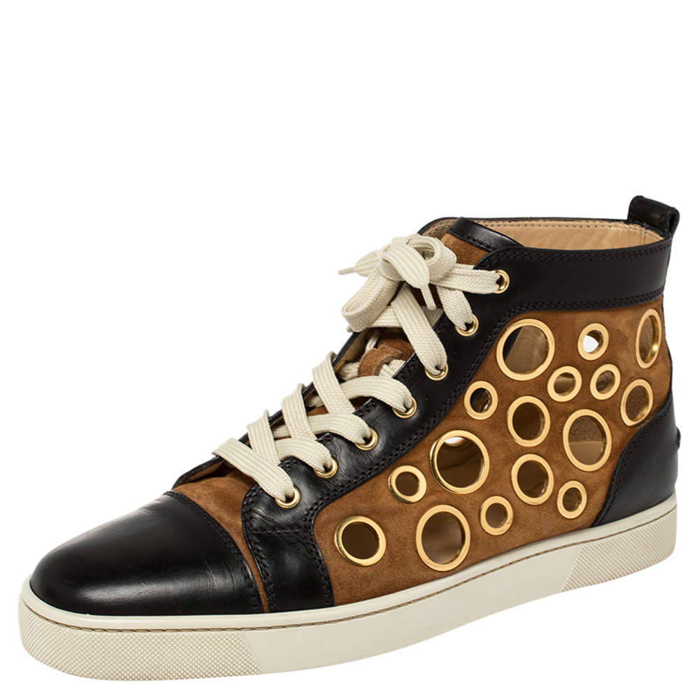 Christian Louboutin Black/Brown Suede And Leather Bubble High Top Sneakers Size 41.5