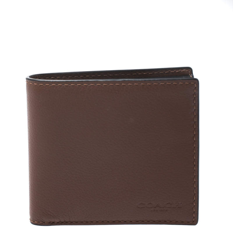 Coach Brown Leather Compact Bifold Wallet