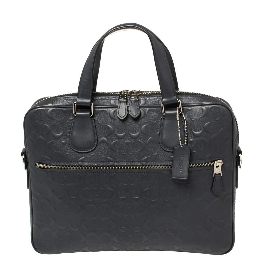 Coach Dark Blue Signature Leather Hudson 5 Laptop Bag