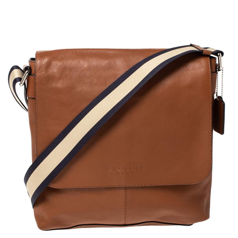 Coach Tan Leather Sullivan Messenger Flap Bag