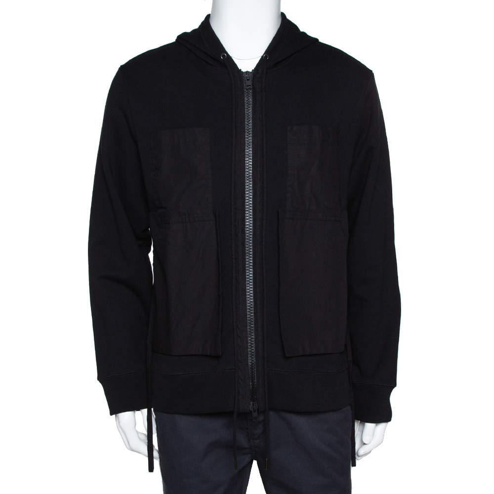 Craig Green Black Cotton Patched String Hoodie L