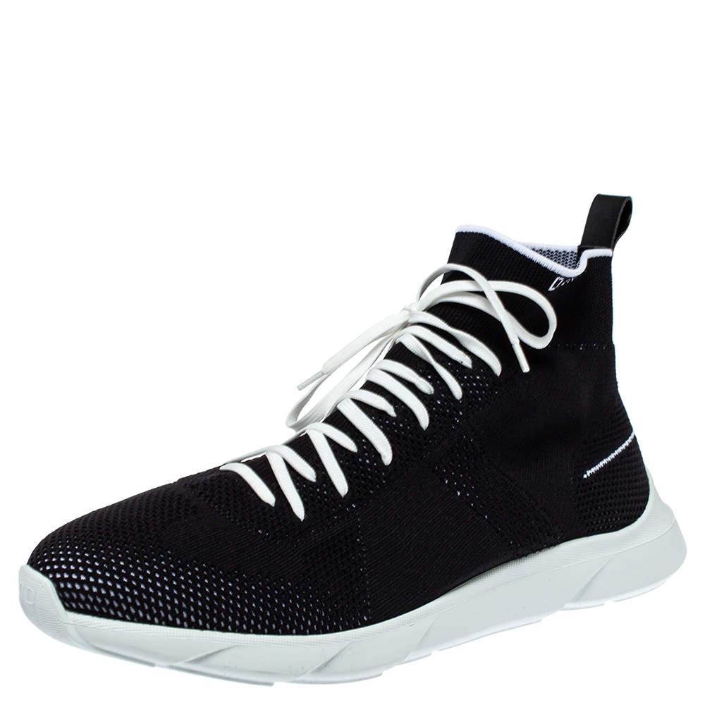حذاء رياضي ديور مرتفع من أعلى بي21 جورب مرتفع من أعلى أسود مقاس 45