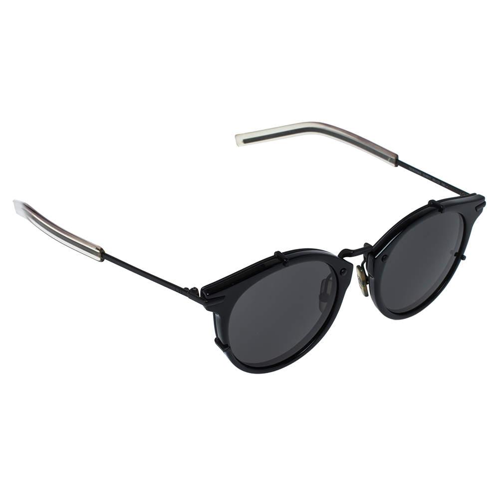 Dior Homme Shiny & Matte Black/ Grey 0196S Round Sunglasses