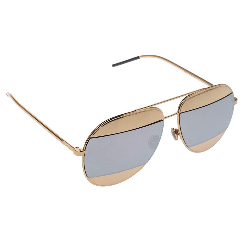Dior Gold Tone/Silver Mirrored DiorSplit1 Aviator Sunglasses